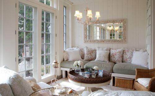 田园风格米色客厅唯美碎花沙发装修效果图