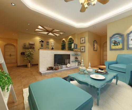 地中海风格二居室客厅沙发装修效果图欣赏