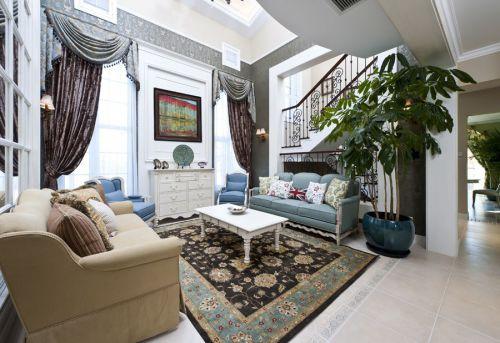 豪华地中海风格一层客厅空间装修实景图
