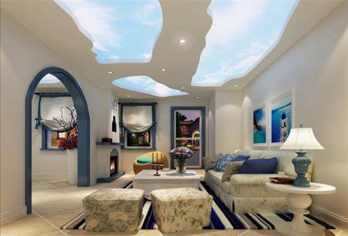 地中海风格五居室客厅吊顶装修效果图欣赏