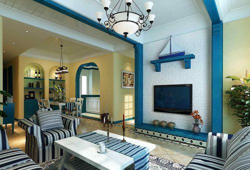 地中海风格二居室客厅隔断装修效果图欣赏