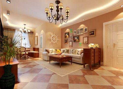 地中海风格三居室客厅吧台装修图片