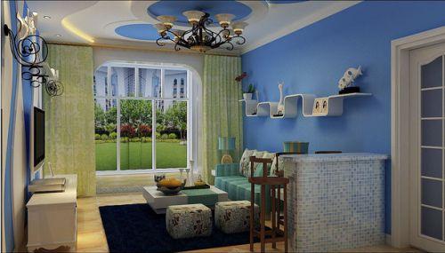 86平二室地中海风格蓝白色客厅吧台效果图