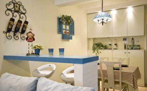 二居室80平地中海风格蓝色吧台设计案例