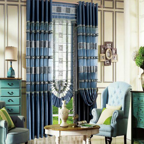 蓝色地中海格子瓷砖感客厅窗帘效果图