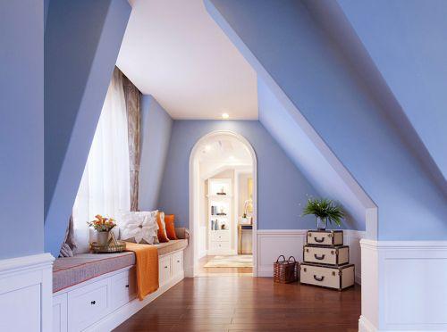 蓝色地中海风格大客厅飘窗设计