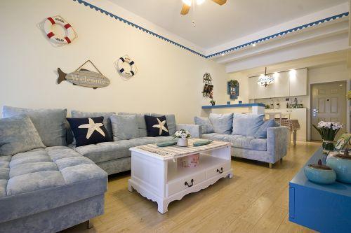 地中海风格二居室客厅飘窗装修效果图欣赏