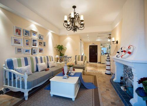 地中海风格海洋蓝客厅装修效果图