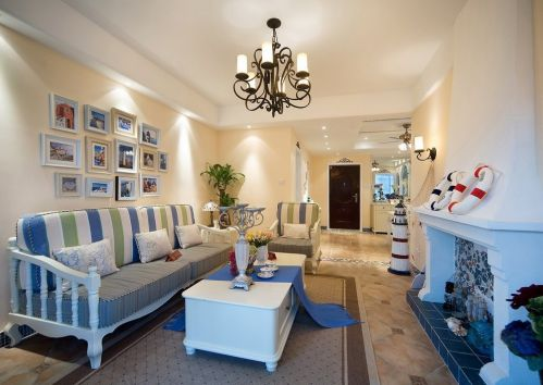 地中海风格蓝色洋溢客厅装修效果图