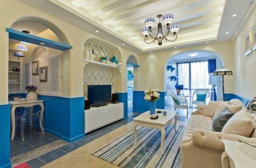 温馨优雅地中海风格蓝白相间客厅装修效果图