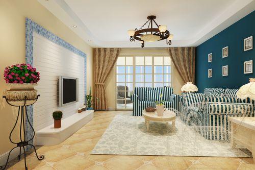 地中海三居室客厅装修效果图大全