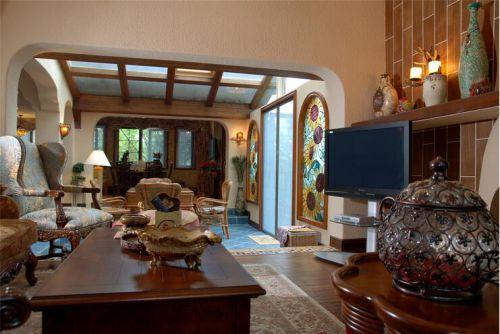 地中海风格六居室客厅吊顶装修效果图