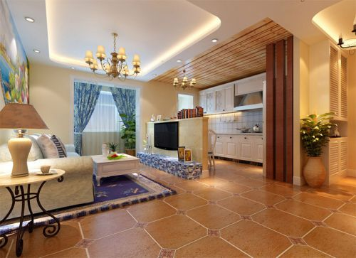 地中海风格三居室客厅电视柜装修图片