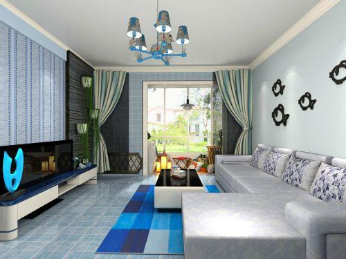 地中海风格三居室客厅窗帘装修效果图大全