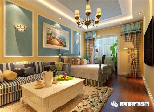 地中海风格一居室客厅沙发装修图片