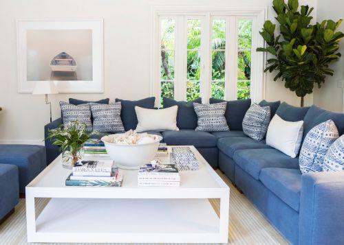 清新地中海风格蓝色客厅装修图片