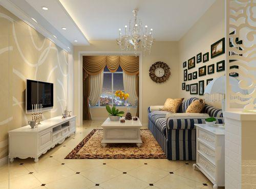 110平米地中海风格客厅照片墙图片欣赏