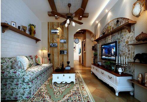 地中海风格三居室客厅电视柜装修效果图大全