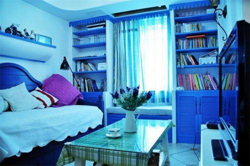 地中海风格一居室客厅背景墙装修效果图大全