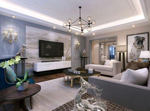 地中海风格三居室客厅灯具装修效果图大全