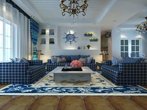 地中海风格三居室客厅茶几装修图片