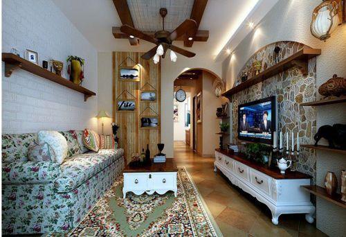 地中海风格三居室客厅背景墙装修图片