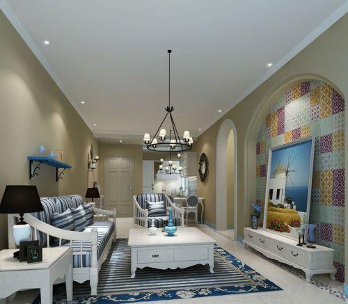 地中海风格三居室客厅影视墙装修效果图