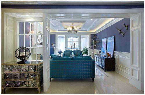 地中海风格四居室客厅窗帘装修效果图大全