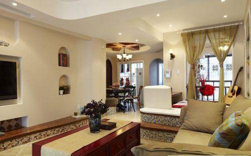 地中海风格二居室客厅影视墙装修效果图