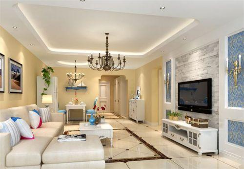 地中海风格二居室客厅背景墙装修效果图