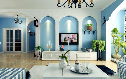 地中海风格四居室客厅装修效果图大全