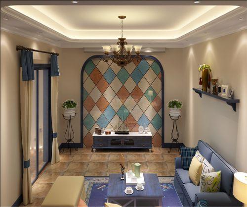 地中海风格复式客厅灯具装修图片