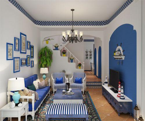 地中海风格复式客厅照片墙装修效果图欣赏