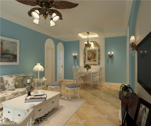 地中海风格二居室客厅灯具装修效果图大全