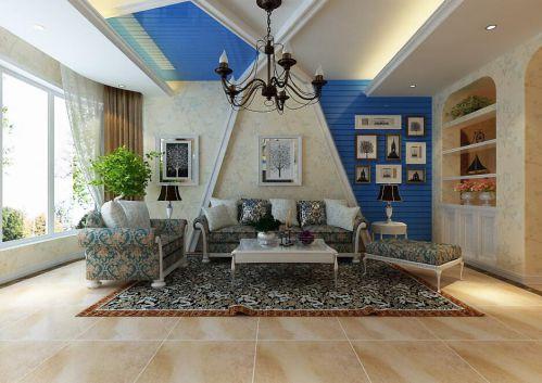 地中海风格三居室客厅照片墙装修效果图欣赏