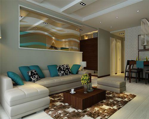 地中海风格二居室客厅影视墙装修效果图欣赏