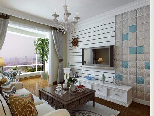 地中海风格一居室客厅影视墙装修效果图大全