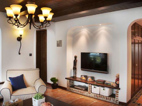 地中海风格二居室客厅灯具装修效果图