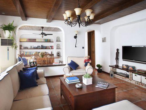地中海风格二居室客厅沙发装修图片
