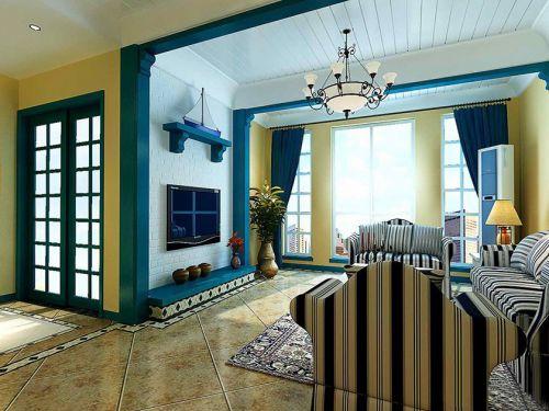 地中海风格二居室客厅吊顶装修效果图欣赏