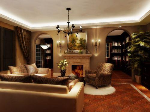 地中海风格四居室客厅吊顶装修效果图欣赏