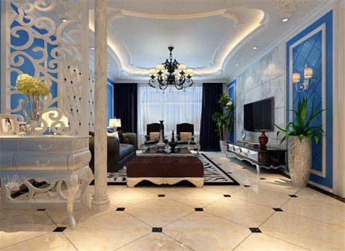 地中海风格三居室客厅飘窗装修效果图