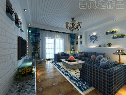 地中海风格三居室客厅背景墙装修效果图欣赏