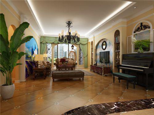 地中海风格四居室客厅隔断装修效果图欣赏