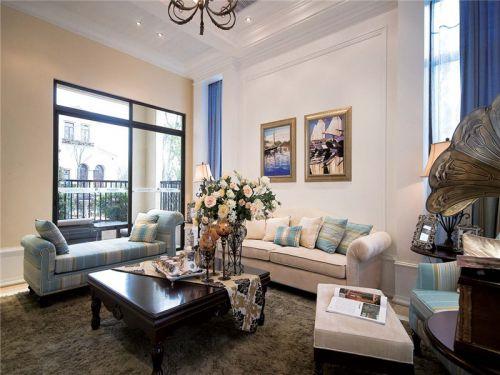 地中海风格二居室客厅组合柜装修效果图大全