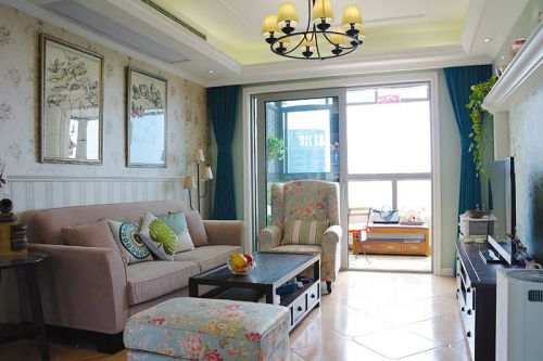 地中海风格二居室客厅吊顶装修图片