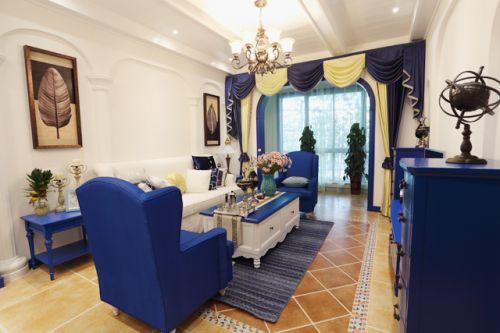 地中海风格二居室客厅窗帘装修效果图