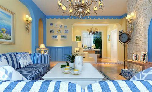 地中海风格二居室客厅吧台装修效果图大全