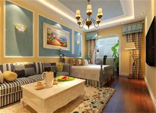 地中海风格一居室客厅壁纸装修效果图欣赏