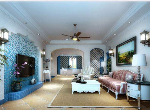 地中海风格四居室客厅沙发装修图片